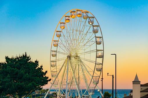 Bournemouth Big Wheel Ride at sunset, Dorset. UK